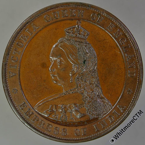 Surbiton 1887 Golden Jubilee Medal 38mm B3274 By Pinches - Bronze