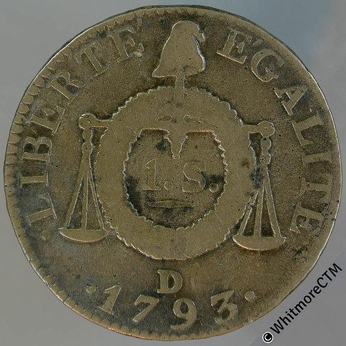 France 1793 1 Sol C122 - 1793D