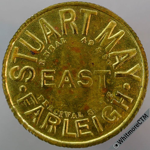 Value Stated Token East Farleigh (Kent) 31mm Stuart May 1½ D. By Neal. Brass