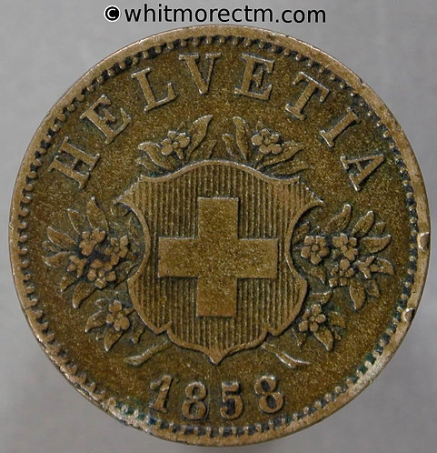1858 Switzerland 20 Centimes coin obv Rappen Y22 - Billon