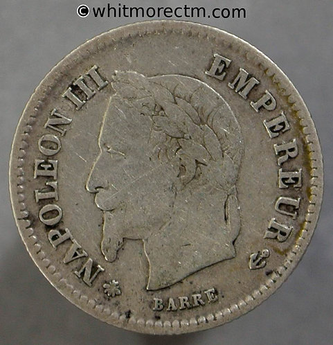 1867 France 20 Centimes coin 1867A - Silver Y28
