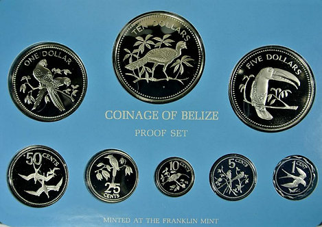 1977 Belize 1 Cent to 10 Dollars obv. sealed cupro-nickel proof with certificate