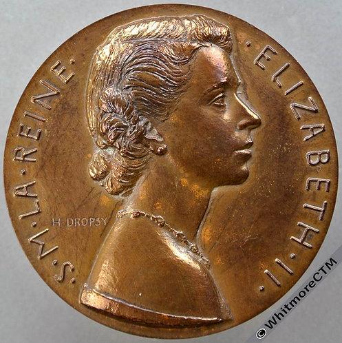 1953 Elizabeth II Coronation Paris Mint Medal 50mm WE8047 by H.Dropsy - Bronze