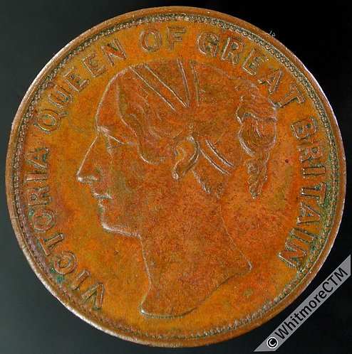 Unofficial Farthing Token Reading 4430 Pole Tea Dealer 16 Duke St. Victoria Y.H.