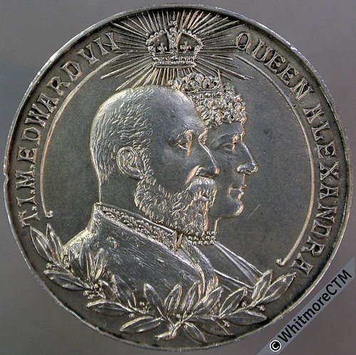 Edward VII Queen Alexandra Medal 39mm By Constantine & Floyd. Silver plate.