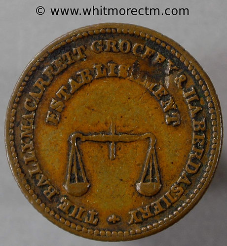 Unofficial Farthing Ballymacarrett 5340 James Jones Grocery Pair of scales rev. Rare