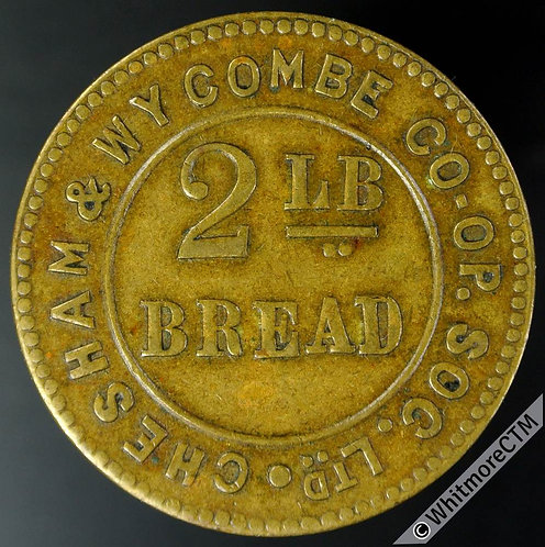 Co-Operative Society token Chesham & Wycombe  2lb bread. Same both sides. Brass