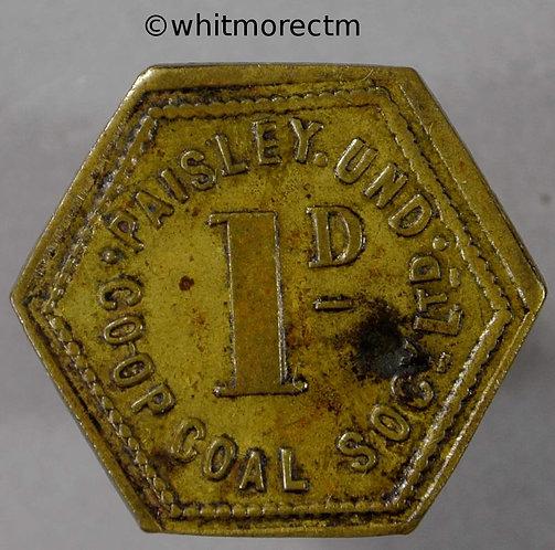 Co-Operative Society Token Paisley Und. Coal 20mm 1D Hexagonal Brass