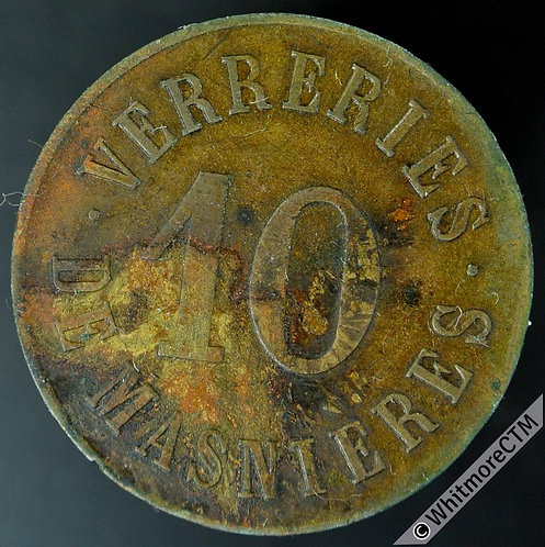 France token Masnieres 26mm Verreries 10.  This type not in Gadourey. Brass