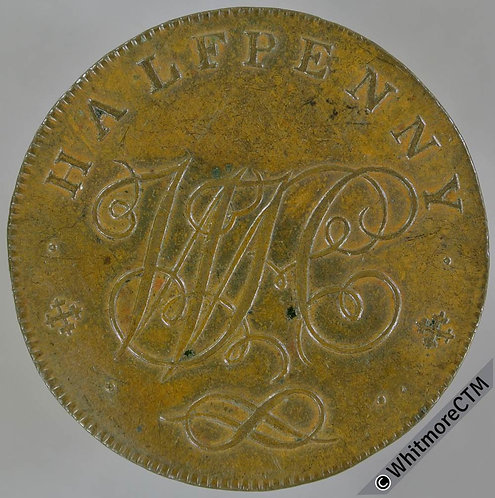 18th Century Halfpenny Token Stafford 21 1797 Arms / WH Cypher.  Horton's edge