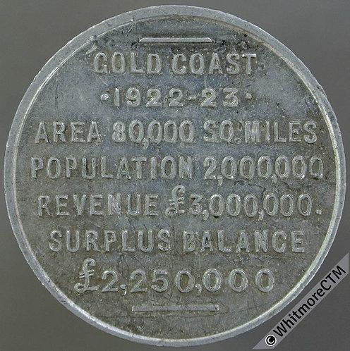 Africa Gold Coast Gana Token 1922-23 Revenue details 29mm Aluminium