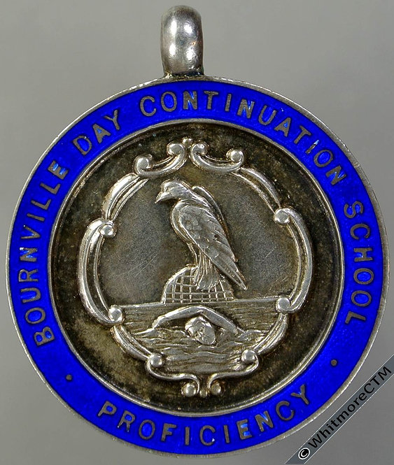 1937 Bournville Day Continuation School Swimming Medal 27mm Engraved Silver