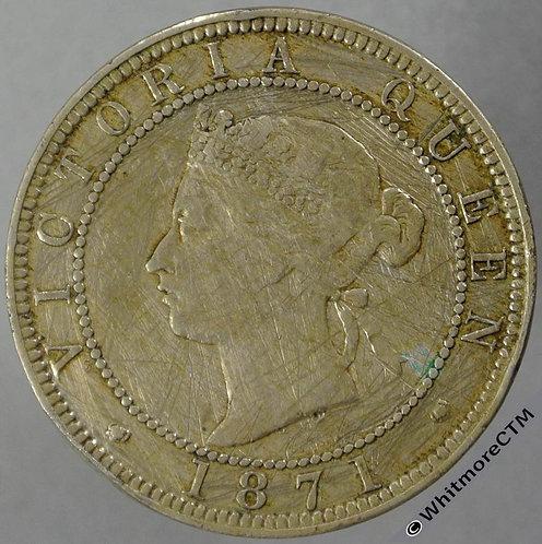 1885 Jamaica Penny - Y3 Victoria obv