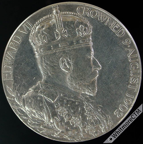1902 Edward VII Coronation Medal 31mm B3737 Official issue. King / Queen. Silver