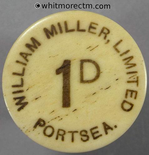 Portsea Value Stated Token 33mm 1D William Miller Limited - Bone