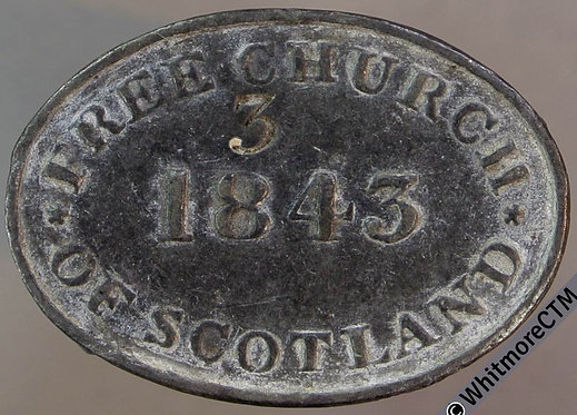 Communion Token 30x21mm Free Church of Scotland Stamped 3.  Oval.