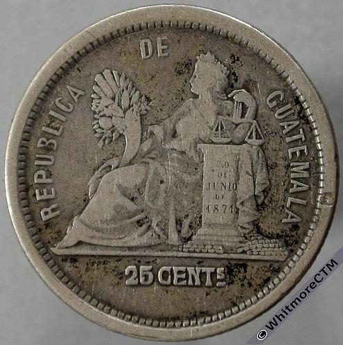 1881 Guatemala 25 Centavos obv - Silver