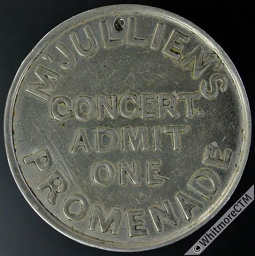 Ticket Pass Token London 31mm MG465 M'Julliens Promenade Concert - White metal