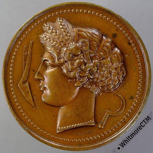 1890 France Agricultural Comice De Wissenbourg Medal 37mm By Oudine. Bronze