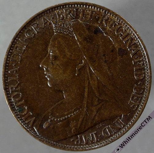 1897 British Bronze Farthing Victoria