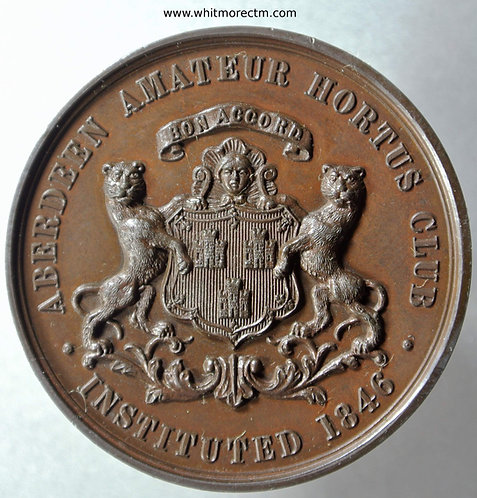 Aberdeen Amateur Hortus Club Medal 41mm Instituted 1846 Bronze