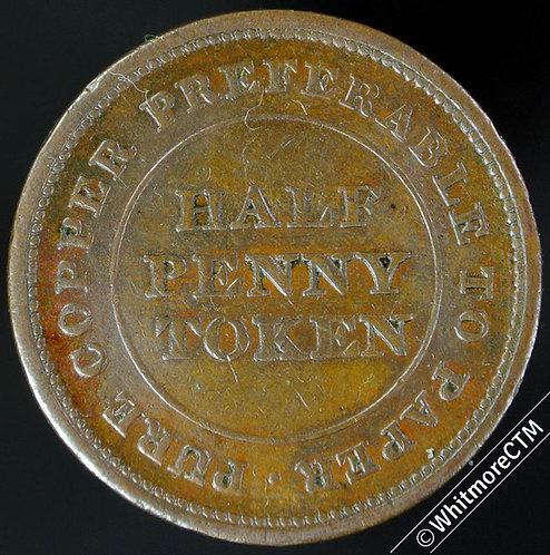 19th Century HalfPenny Non-local 1655 1812 Pure Copper. Trade & Navigation