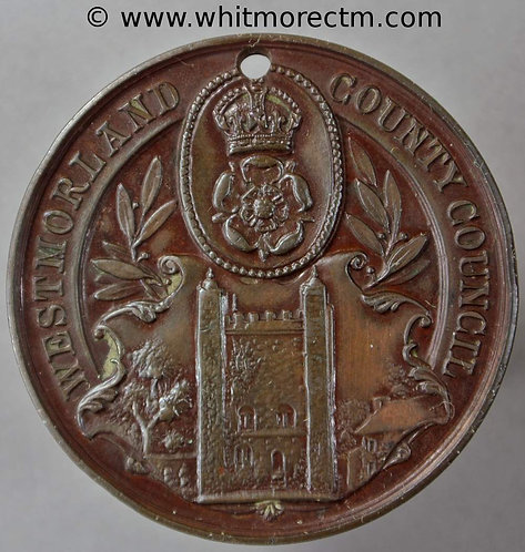 Westmorland 1906 County Council School Attendance Medal 38mm D2651 Bronze