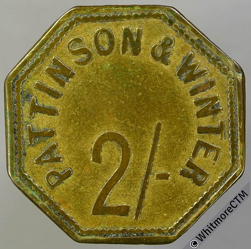 Value Stated Token Penrith 24mm 2/- Pattinsons & Winter. Octaganal Brass