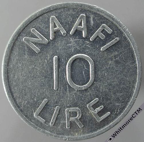 Armed Forces Token Italy NAAFI 10 Lire obv - Uniface.Aluminium