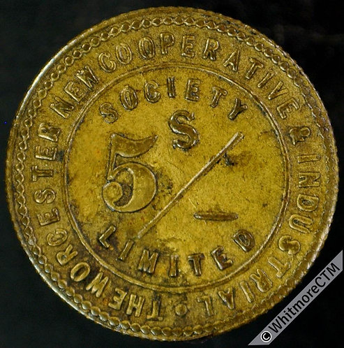 Co-Operative Society token Worcester New & Industrial 5s. Same both sides. Brass