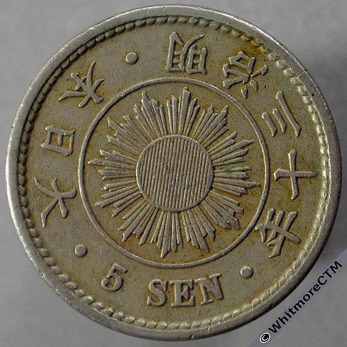1897 Japan 5 Sen Year 30 obv?