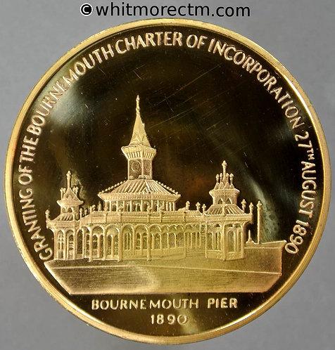 Bournemouth 1990 Borough Centenary Medal 38mm Gilt brass
