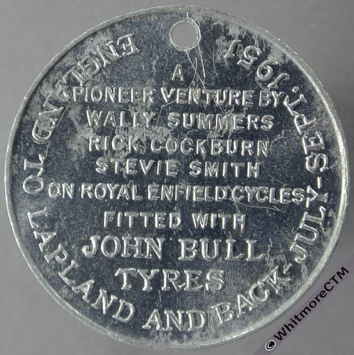 Redditch 1951 England to Lapland and back on Royal Enfield Cycles Medal 32mm
