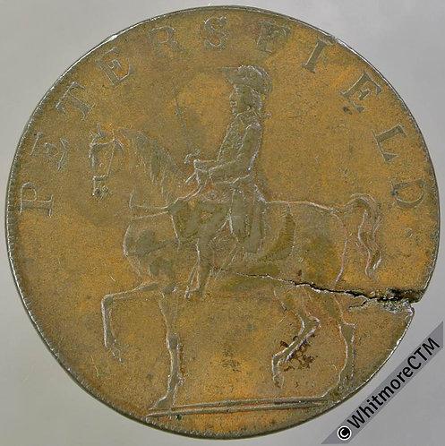 18th Century Halfpenny Petersfield 48c 1793 Horseman. Plain edge.- Flan crack