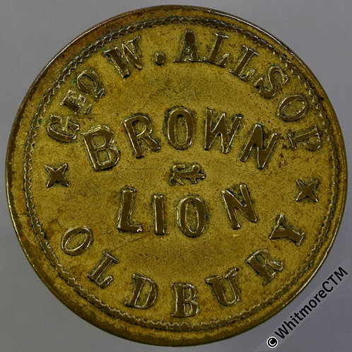 Inn Pub Token Oldbury W9070 3(d) Geo. W Allsop Brown Lion.  By W.Smith