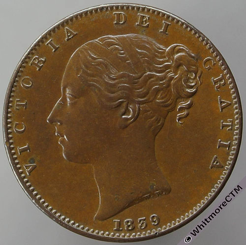 1839 British Copper Farthing coin Victoria Young Head. DEF: