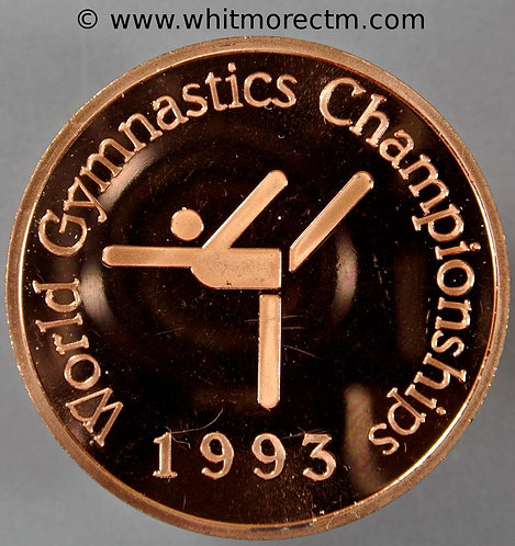 Birmingham 1993 Gymnastics Championship Medal 50mm Bronze proof about FDC