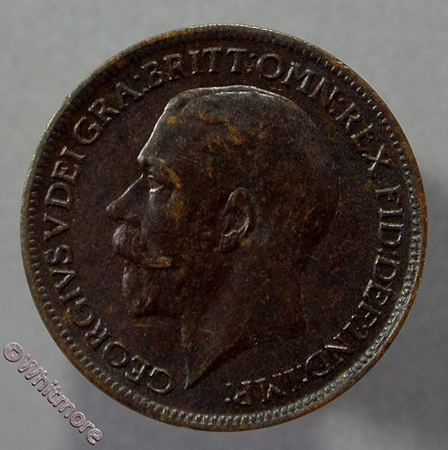 1917 George V Farthing 1/4d Mint Toned