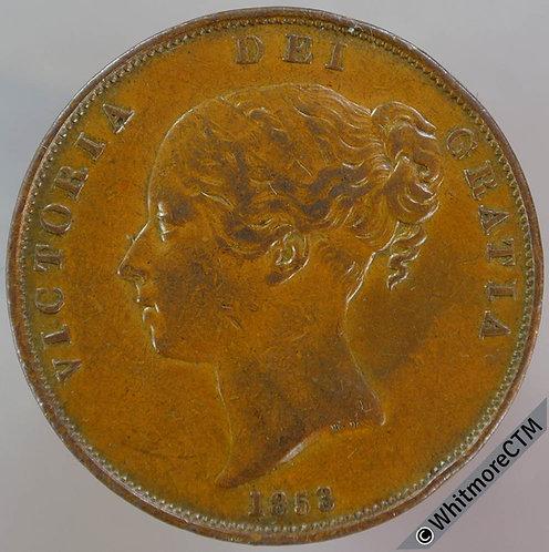 1853 Victoria Young Head Copper Penny O.T. far colon