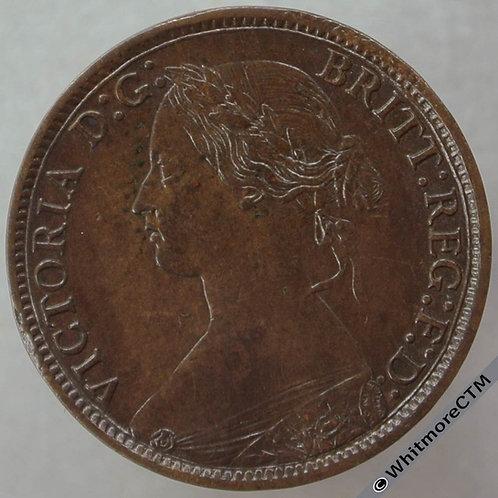1868 British Bronze Farthing Victoria Bun Head.