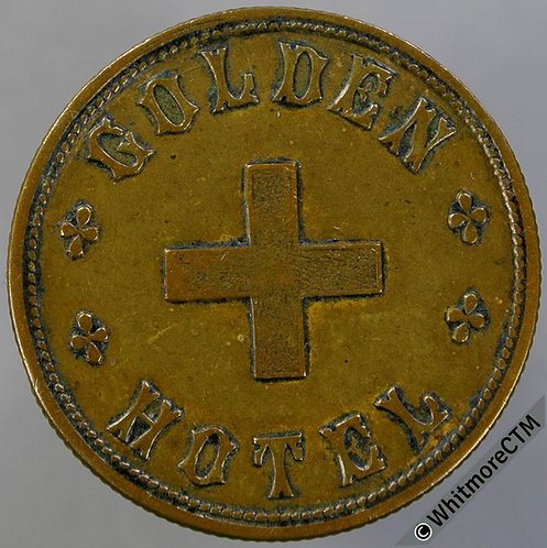 Bromsgrove Inn / Pub Token W1380 3d T.E.Pountney - Golden Cross Hotel