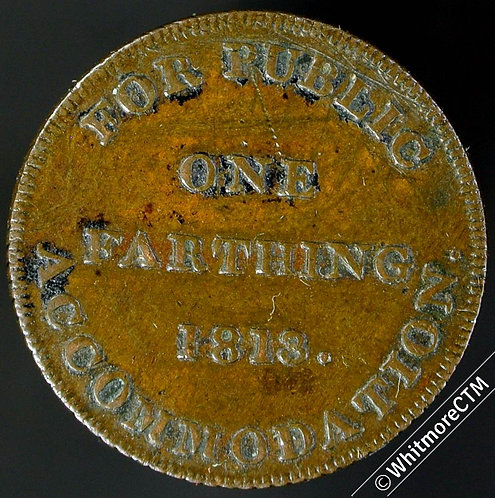19th Century Farthing Non-local 1730 1813 For Public Accommodation Uniface Rare