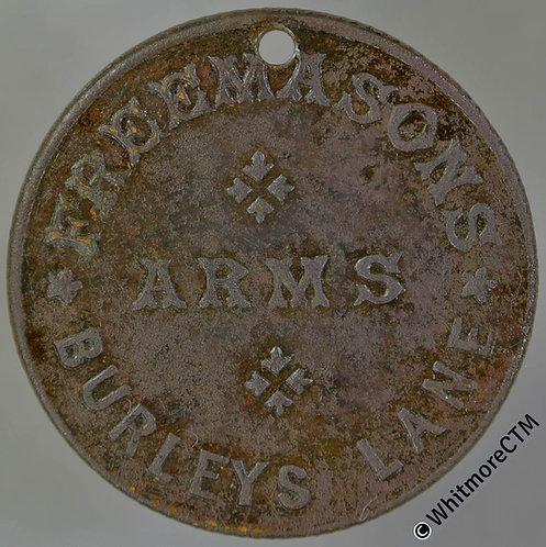 Leicester Pub / Inn Token Freemasons Arms Burleys Lane / 3D in wreath - Pierced