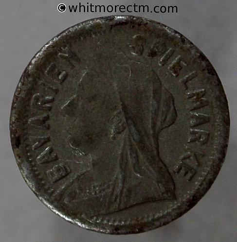 Toy Coin. Bavarien Spielmarke Veiled Head 1897 Six Pence S over veil 663 13mm