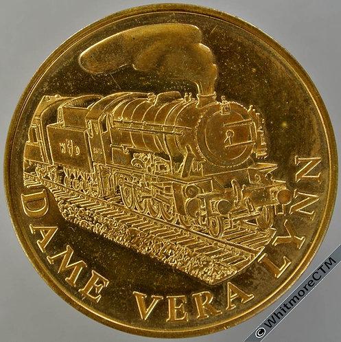 North Yorkshire Moors Railway Medal 38mm Dame Vera Lynn in steam, Gilt Bronze