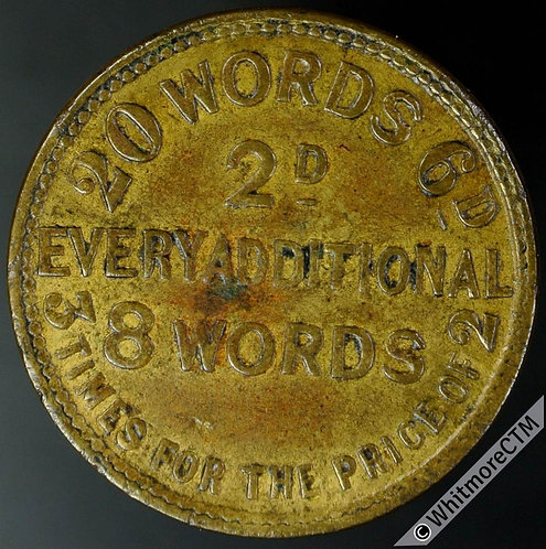 Unofficial Farthing London 2453 Daily Chronicle and Clerkenwell News - Brass