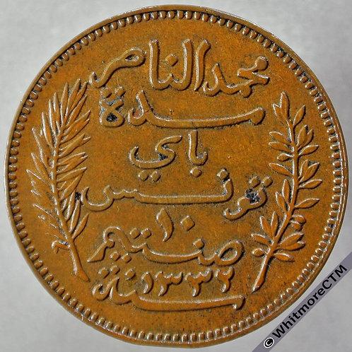 1914 Tunisia 10 Centimes 1332 - obv