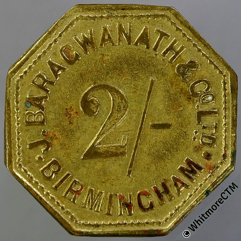 Market Token Birmingham 26mm W330 2/- J.Baragwaneth & Co Ltd. - Octagonal brass