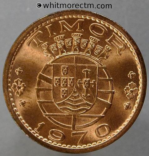 1970 Portuguese Timor Escudo coin obv - 90% Luster