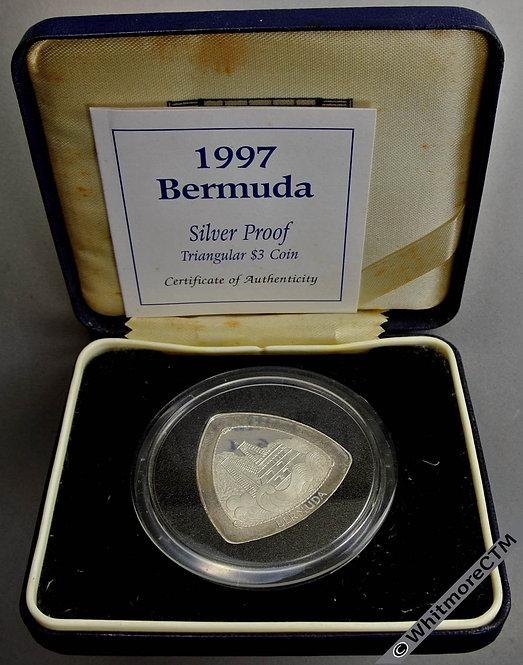 1997 Bermuda Silver Proof $3 Wreck of Sea Venture tree sided Crown